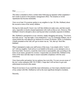 noise complaint letter to neighbor   Hadi.palmex.co
