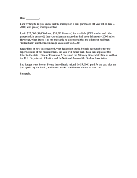 Car Dealership Mileage Complaint Letter Letter of Complaint