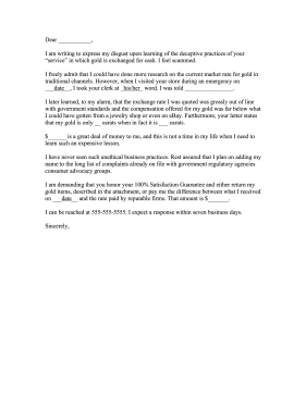 Cash for Gold Complaint Letter Letter of Complaint