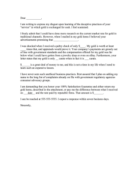 Cash for Gold Online Complaint Letter Letter of Complaint