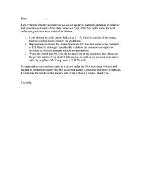 Breach of Data Protection Act Complaint Letter Letter of Complaint