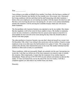 Complaint Letter To Hospice Letter of Complaint