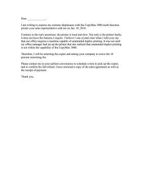 Copy Machine Complaint Letter Letter of Complaint