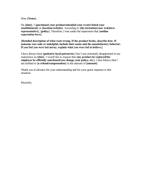 Fill-in-the-Blanks Complaint Letter Letter of Complaint