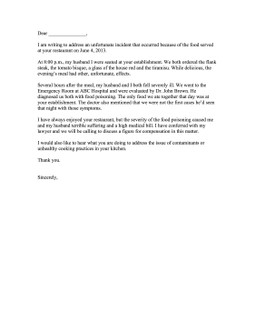 Food Poisoning Complaint Letter Letter of Complaint