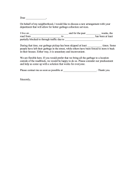 Garbage Collection Complaint Letter