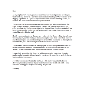 Hostile Work Environment Complaint Letter Letter of Complaint