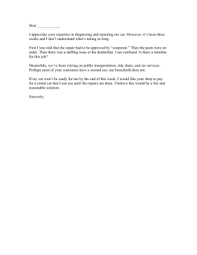 Long Repair Time Complaint Letter Letter of Complaint