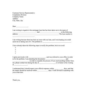 Mortgage Loan Complaint Letter Letter of Complaint