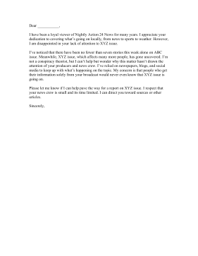 News Coverage Complaint Letter Letter of Complaint
