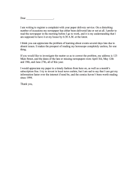Newspaper Complaint Letter Letter of Complaint