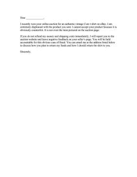 Online Auction Complaint Letter Letter of Complaint