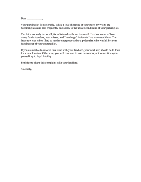 Parking Lot Complaint Letter Letter of Complaint