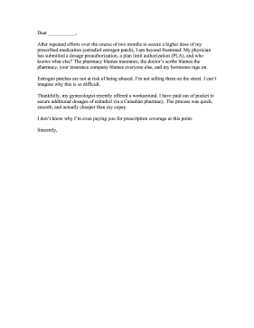 Prescription Drug Price Complaint Letter Letter of Complaint