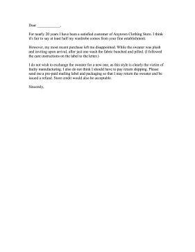 Repeat Customer Clothing Complaint Letter Letter of Complaint