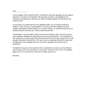 Restaurant complaint letter response for Replying to a complaint letter template