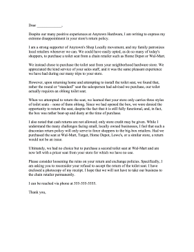 Return Policy Complaint Letter Letter of Complaint