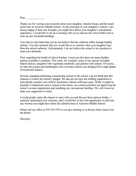 School complaint letter response for Replying to a complaint letter template