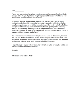 Sexual Harassment Complaint Letter Letter of Complaint