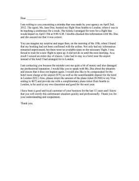 Travel Agency Complaint Letter Letter of Complaint